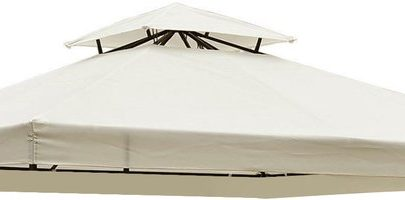 Outsunny Gazebo Replacement Canopy 3x3 m Cream White Roof Top Cover Spare Part New Garden 2-Tier Tent-Cream White 100110-053CW 5055974800434