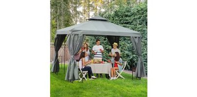 Outsunny 3 x 3 m Garden Metal Gazebo Marquee Patio Wedding Party Tent Canopy Shelter with Pavilion Sidewalls (Dark Grey) 84C-043CG 5056399145582