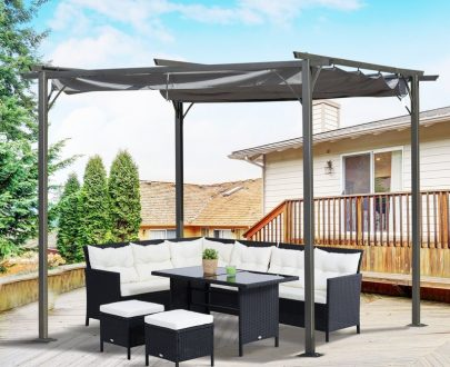 Outsunny 3x3 (m) Metal Pergola Gazebo Awning Retractable Canopy Outdoor Garden Sun Shade Shelter Marquee Party BBQ Grey 84C-093GY 5056399144714